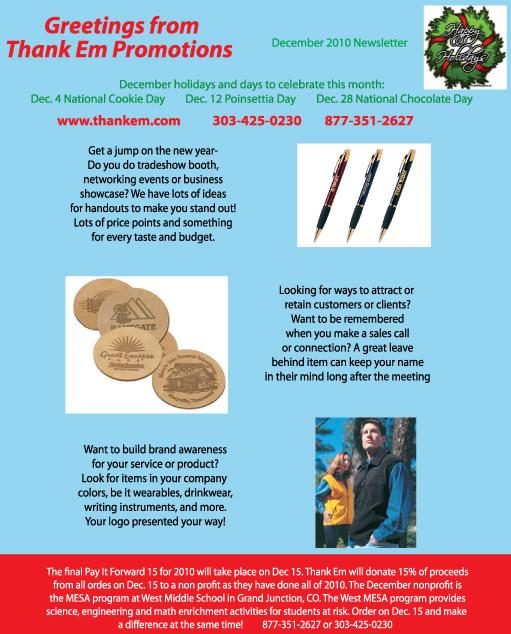 December Promotional Product Deals